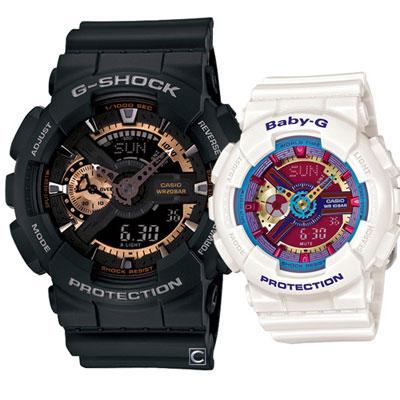 CASIO 炫彩之戀運動款對錶-51.2+43.4mm