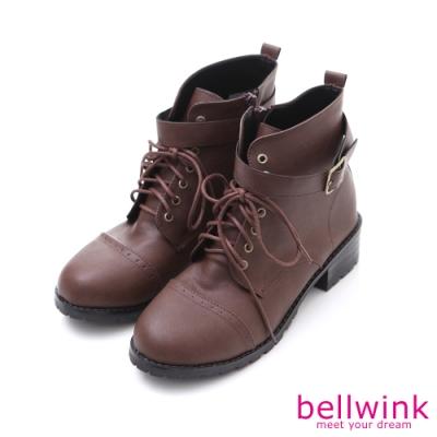 bellwink 率性金屬扣繫綁繩軍靴-棕色-b9709ce