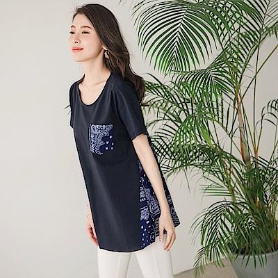 滿版民族風圖騰印花拼接口袋設計長版上衣-OB大尺碼