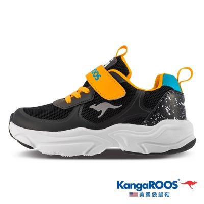 KangaROOS 童鞋 CASPO 科技 輕盈透氣 幻彩反光 運動鞋(黑橘-KK11880)