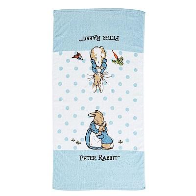 奇哥 圓點比得兔純棉大浴巾-藍色 (73x142cm)