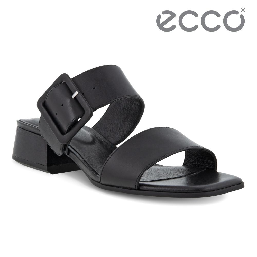 ECCO ELEVATE SQUARED SANDAL 塑雅方頭摩登粗跟涼鞋 女鞋 黑色