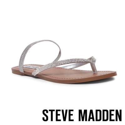 STEVE MADDEN-ENJOY-R 夏日搶眼 水鑽人字繞帶平底涼鞋-銀色