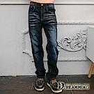Dreamming 皺痕刷色伸縮休閒直筒牛仔褲-深藍