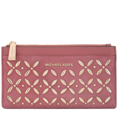 MICHAEL KORS Money Pieces 麂皮花朵鉚釘拉鍊十二卡長夾(玫瑰粉色)