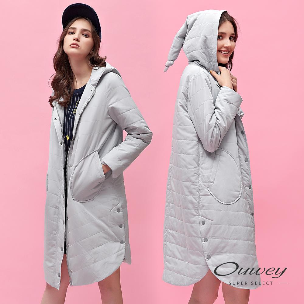 OUWEY歐薇 創意設計帽型素面鋪棉長版外套(灰) @ Y!購物