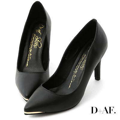 D+AF 魅力佳人‧金屬鑲片素面尖頭高跟鞋*黑
