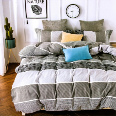 3-HO 雪紡棉 單人床包/枕套 二件組 灰色月光
