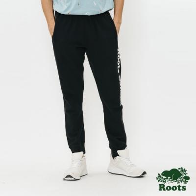 男裝Roots-字標毛圈布棉質長褲-黑