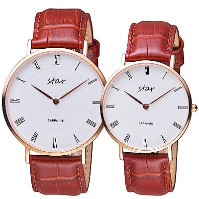 STAR 時代羅馬極簡時尚對錶-咖啡皮