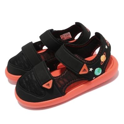adidas 涼鞋 Water Sandal CT 套腳 童鞋 愛迪達 輕量 魔鬼氈 舒適 中童 穿搭 黑 橘 GX2473