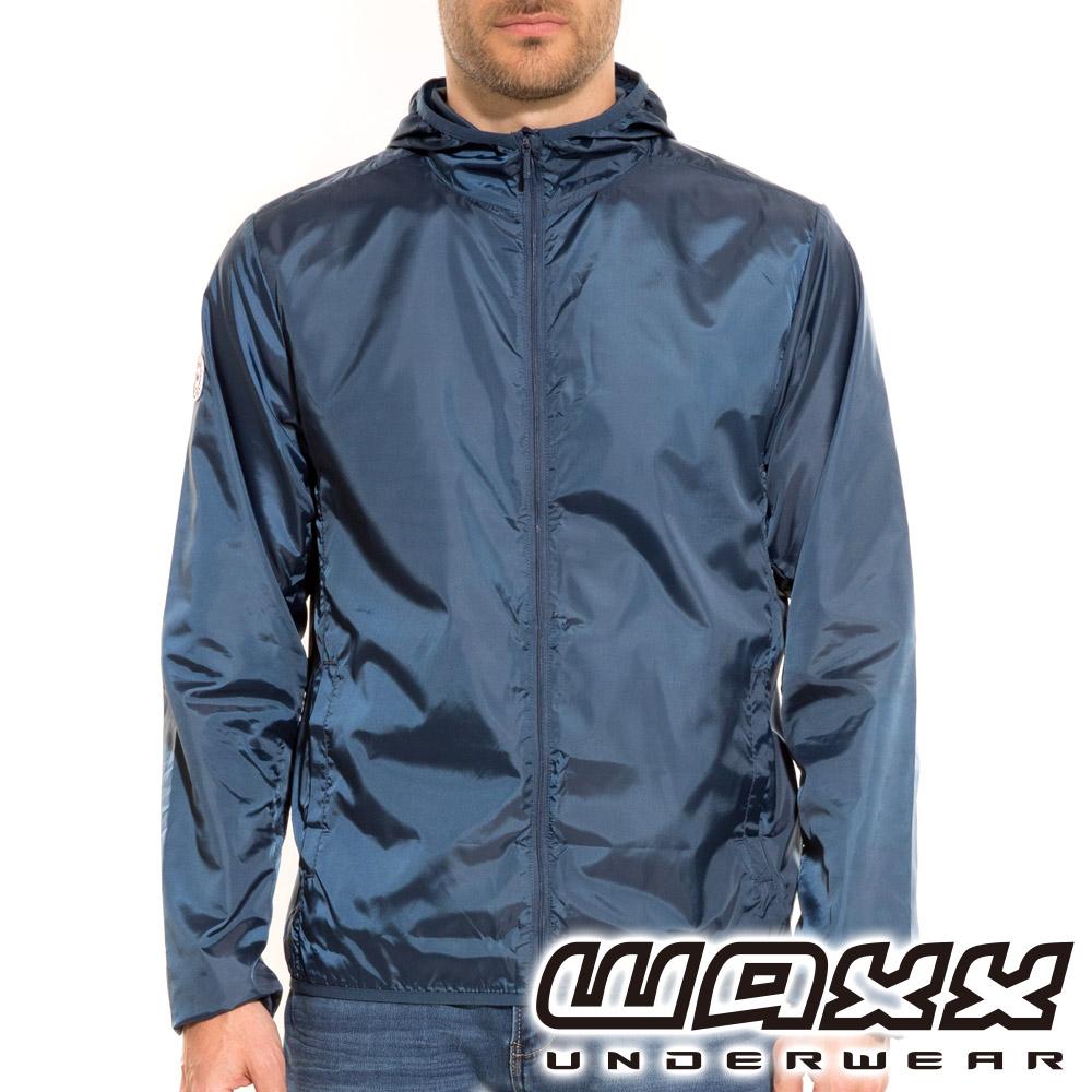 WAXX 經典系列-可攜式連帽風衣外套(海藍色)