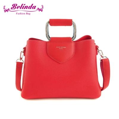 【Belinda】安卡拉簡約方型鐵環手提側背包(紅色)