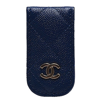 CHANEL 經典金色雙C LOGO粒紋小牛皮磁釦鈔票夾(海軍藍)