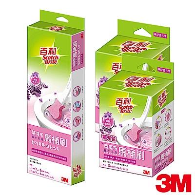 (超值1+14)3M百利菜瓜布馬桶刷香水系列-馬桶刷+補充包2入組-3種香味可選