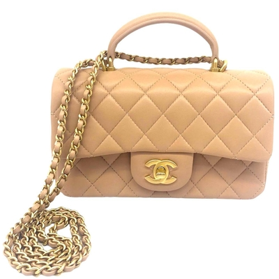 CHANEL 經典粉膚色 Mini Flap Bag With Top Handle (粉膚/金扣)