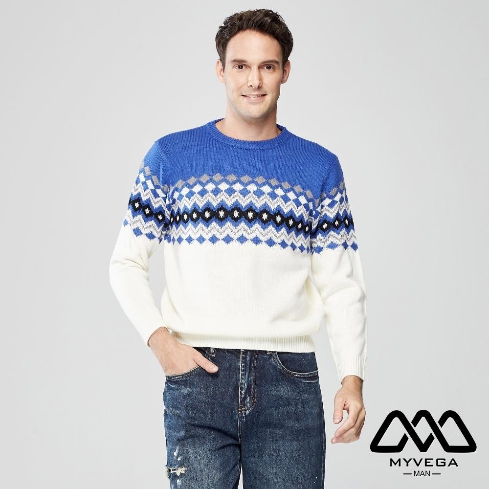 MYVEGA MAN復古菱格紋針織衫-藍