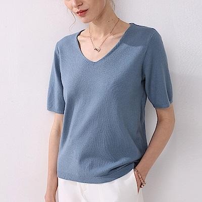 JILLI-KO 薄款純色打底針織衫- 藍/黃