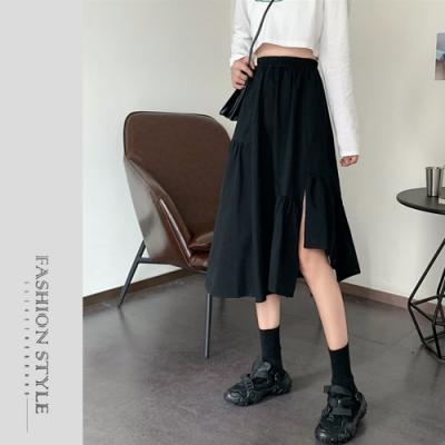 2F韓衣-簡約開衩不規則下擺造型長裙-2色(F)