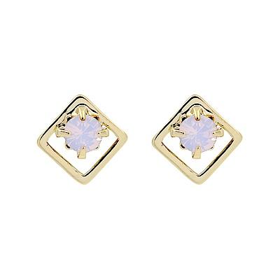 LOVERS TEMPO加拿大品牌 DIA STUD施華洛世奇粉水晶菱框耳環