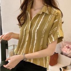 初色  寬鬆顯瘦條紋襯衫-共3色-(M-2XL可選)