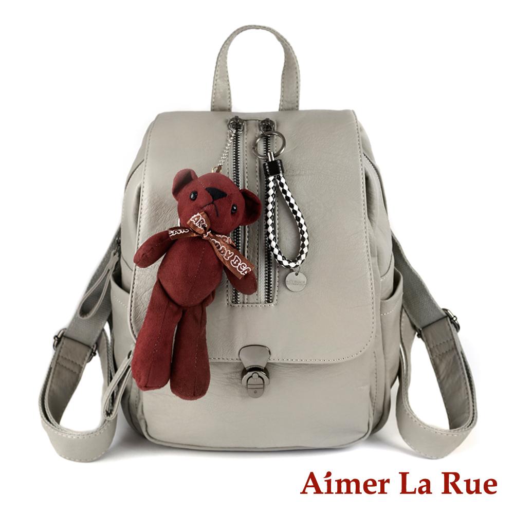 Aimer La Rue 甜美小熊樂園後背包-灰色(快)