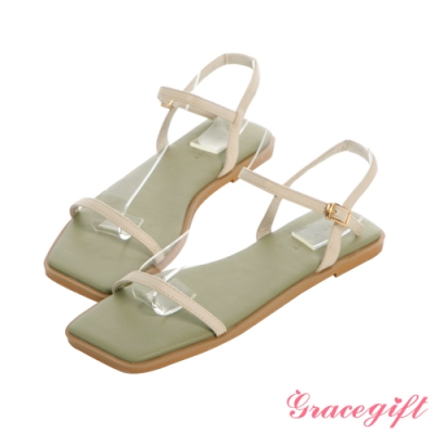 Grace gift-一字繫帶撞色平底涼鞋 米白