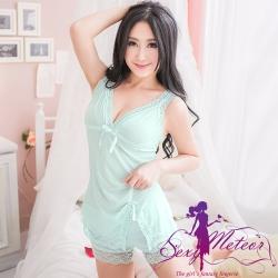 日系睡衣 全尺碼 V領直紋蕾絲邊細肩開叉二件式睡衣組(輕柔藍綠) Sexy Meteor
