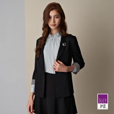 ILEY伊蕾 紋理感微彈撞色七分袖西裝外套(黑)