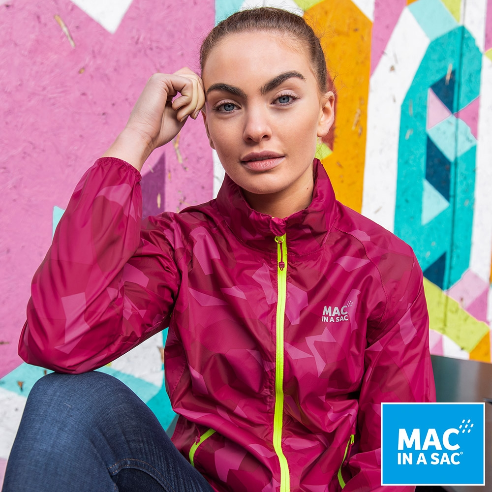 【MAC IN A SAC】女款輕巧袋著走炫彩防水透氣外套MNS117迷彩桃紅
