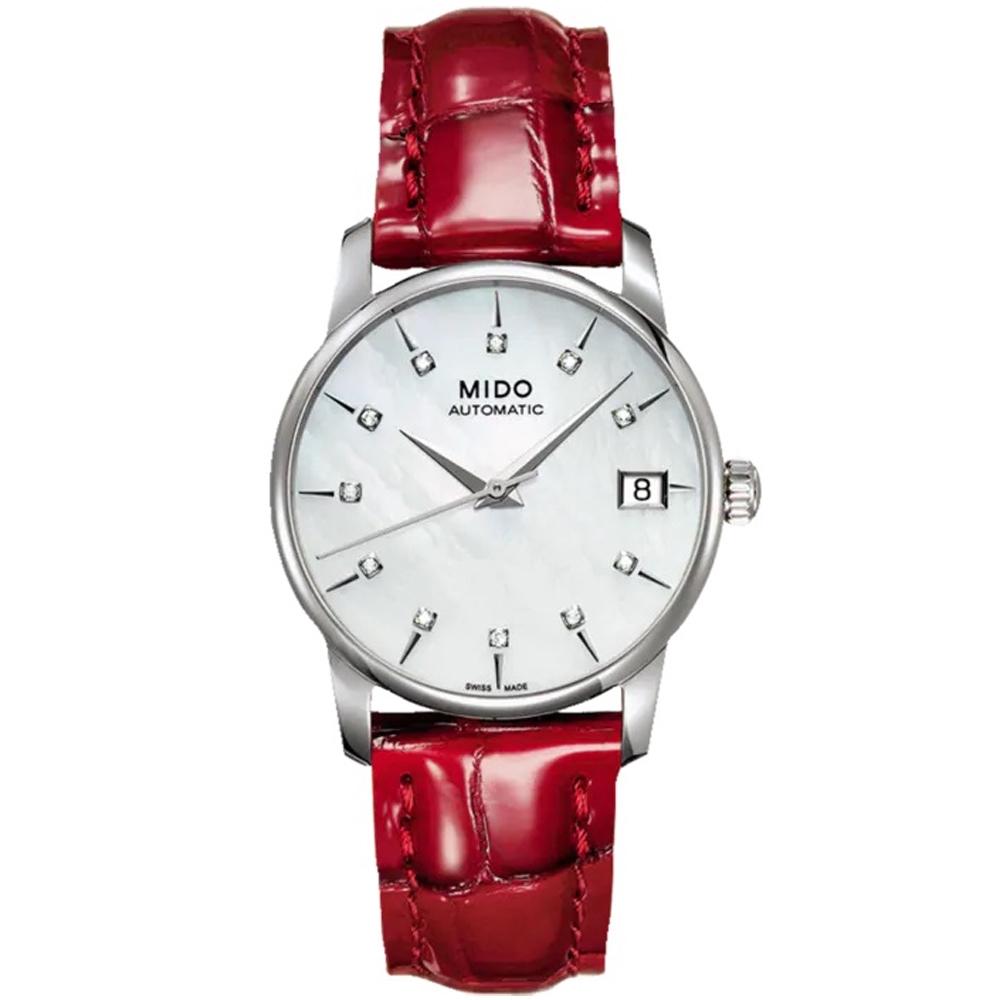 MIDO美度 BARONCELLI永恆系列珍珠母貝真鑽機械錶(M0072071610600)-33mm