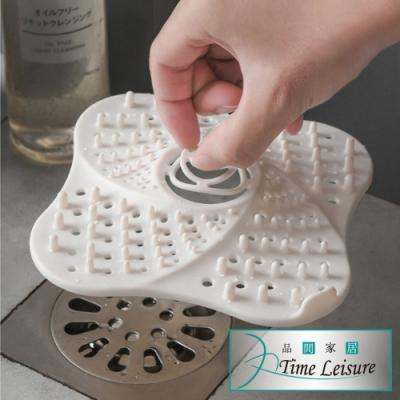 Time Leisure 廚房浴室矽膠吸盤凸起防堵防臭過濾網/地漏蓋 白