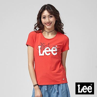 Lee 植絨LOGO 羅紋拼接短袖圓領T恤/RG-紅