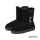 達芙妮DAPHNE 短靴-原色長毛內裡佐流蘇厚底短靴-黑