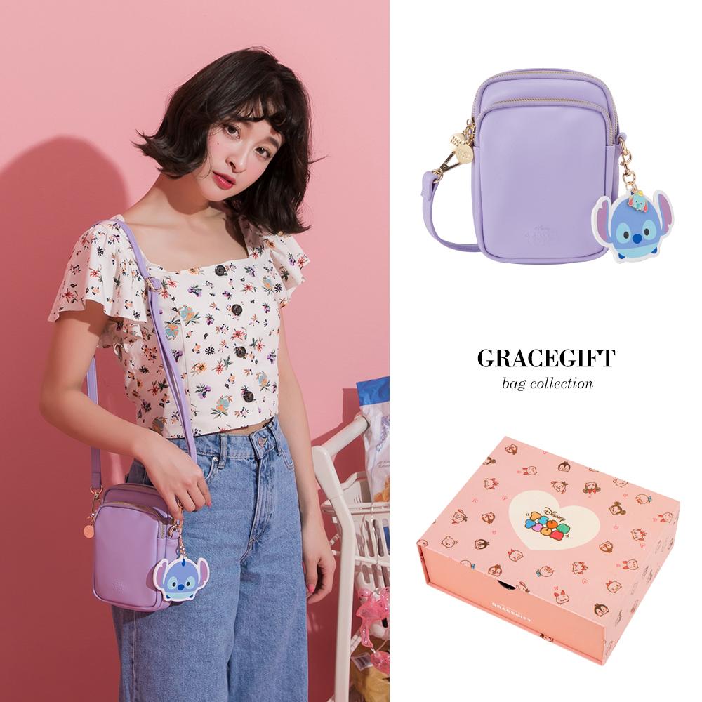 Disney collection by grace gift-雙層直式側背小包 紫