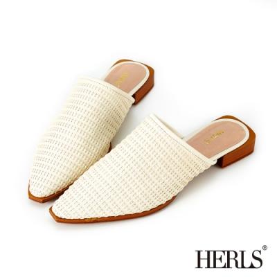 HERLS穆勒鞋 全真皮編織尖頭低跟穆勒鞋 米白色