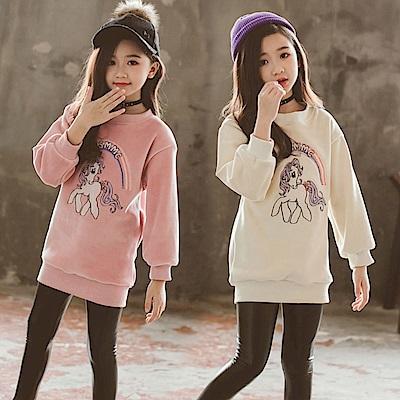小衣衫童裝    中大童刺繡彩虹和小馬長袖加絨T恤1071120