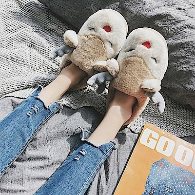 立體麋鹿棉保暖毛絨拖鞋 (金黃色款)
