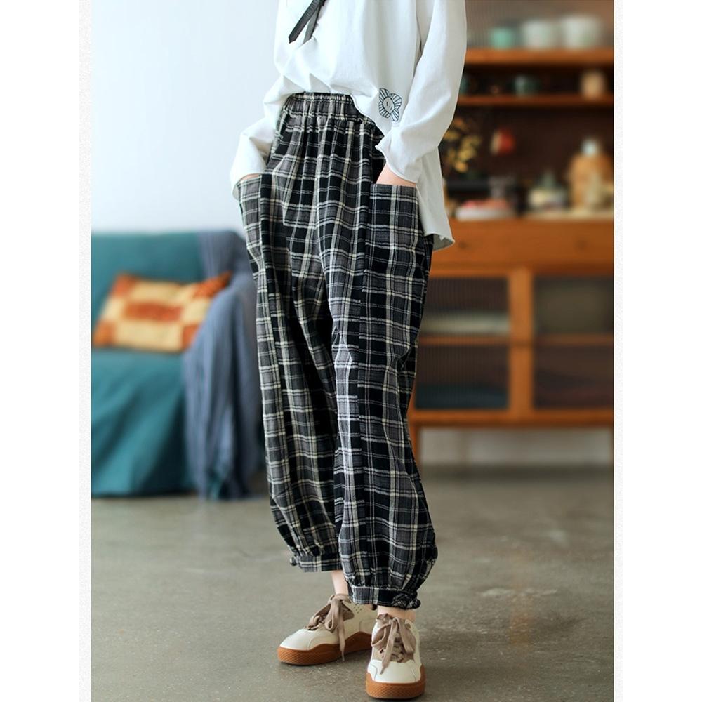 棉麻格子寬鬆顯瘦老爹褲百搭九分褲子二色可選 -設計所在 product image 1