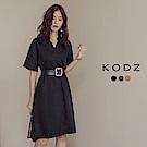 東京著衣-KODZ 率性V領附腰帶短袖洋裝-S.M.L(共三色)