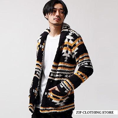 絨毛圍巾領開襟外套(5色) ZIP日本男裝