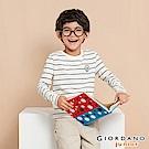 GIORDANO  童裝條紋長袖立體徽章T恤-02 古典奶油X標誌黑