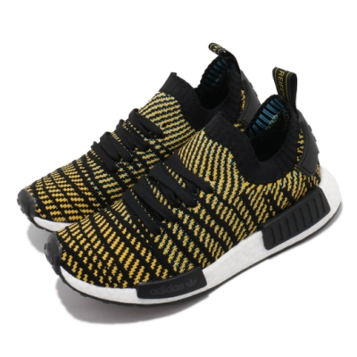 adidas 休閒鞋 NMD R1 STLT PK 女鞋 海外限定 愛迪達 襪套式 Boost 黑 黃 AQ0934