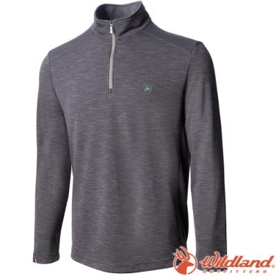 Wildland 荒野 0A72608-90灰色 男彈性雙色立領長袖半門襟上衣