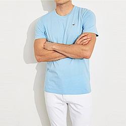 海鷗 Hollister HCO 經典刺繡標誌圓領素面短袖T恤-水藍色
