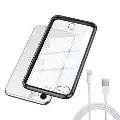 [買手機殼送充電線] iPhone SE 2020 SE2 黑色款 金屬 透明 全包覆 磁吸雙面玻璃殼 (iPhoneSE2020手機殼 iPhoneSE2020保護殼 )