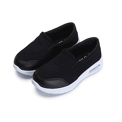 BuyGlasses 拼接氣墊運動兒童懶人鞋-黑