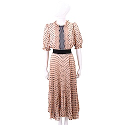 ELISABETTA FRANCHI 蕾絲細節粉橘色圓點雪紡紗質洋裝