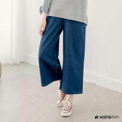Hang Ten-女裝-女裝-WIDE LEG FIT寬口鬆緊高腰九分丹寧褲-深藍色