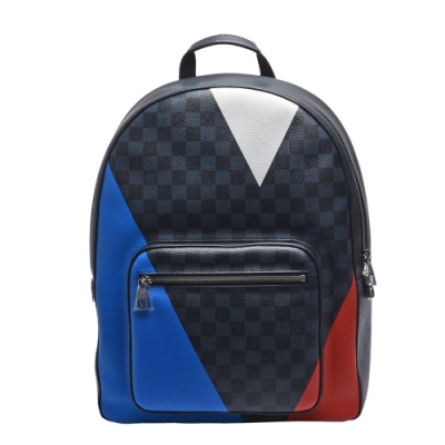 LV N41612 限量美國盃JOSH系列Damier帆布牛皮飾邊拉鍊後背包